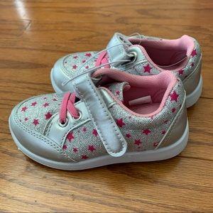 Swiggles Girls Toddler Silver & Pink Shoe sz 7 NWT